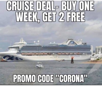 Corona funny (found on Facebook with several 😂😂😂 to accompany it)
