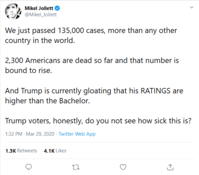Who has time to worry about 2,363 Americans deaths, when Trump is happy with his ratings