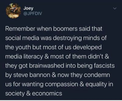 Boomers brainwashed by boomers.