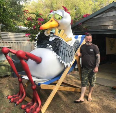 My dad with his new sculpture, Steven Seagull