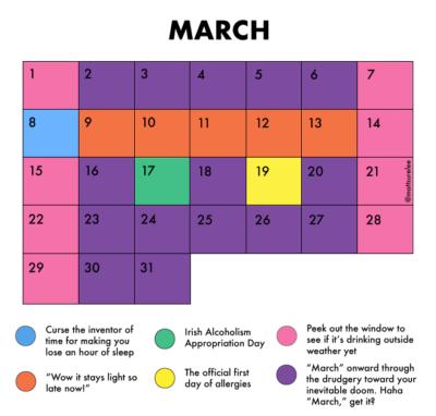 March's schedule