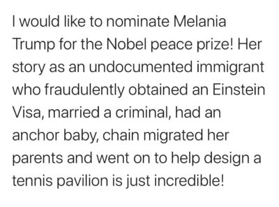 Let's give an Nobel Peace prize to the greatest First Lady ever.