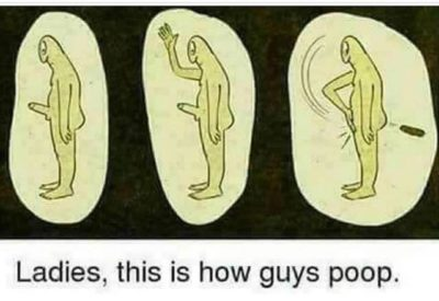 Man Bad Poop Good.
