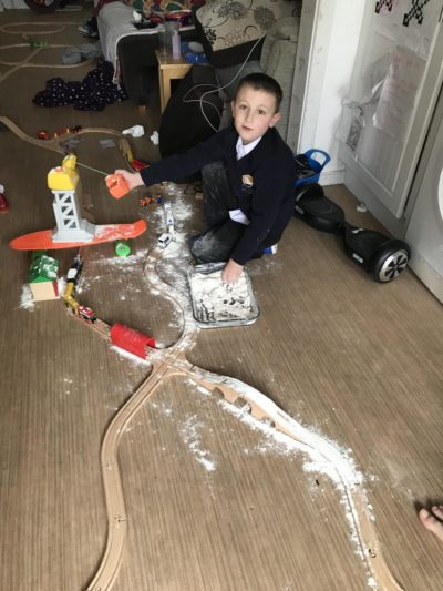 Yesterday- not even day 1 of UK schools closing & my son has used our only bag of flour as pretend snow 🤦‍♀️ it's almost impossible to get flour here…
