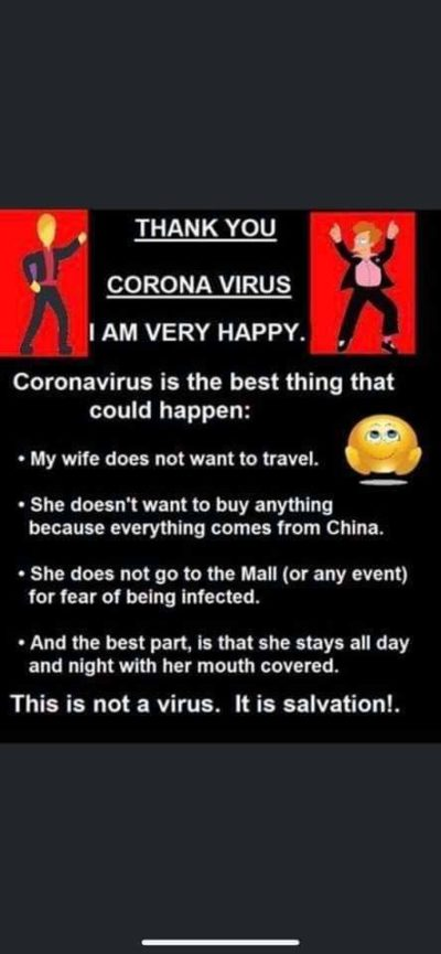 Wife bad, Coronavirus good