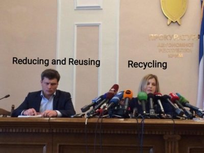 Reducing and Reusing are actually better for the environment than recycling.