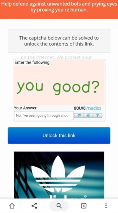 My captcha be asking personal questions.