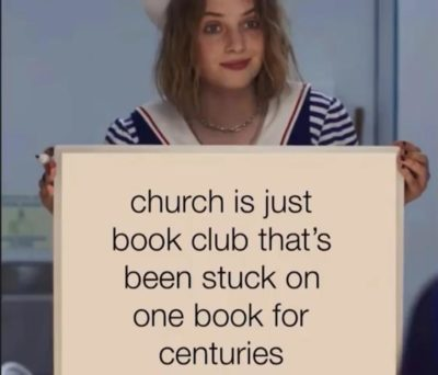 Book club really do be boring though