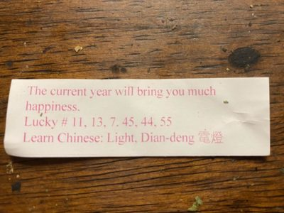 Ordered Chinese food tonight, and this was inside my fortune cookie…