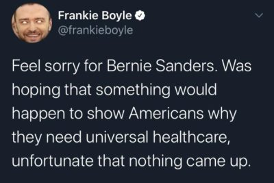 The best hot take on Bernie dropping out.