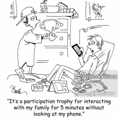 Phone + participation trophy = the best sense of humor
