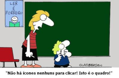 kids dumb, technology bad ~ trans: there aren't any icons to click! it's a blackboard!