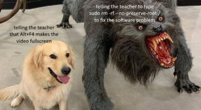 When you find out the teacher's using Ubuntu…