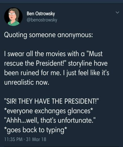 """""""Must Rescue The President"""" movies… changed for me."""