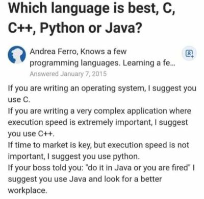 Java is the best