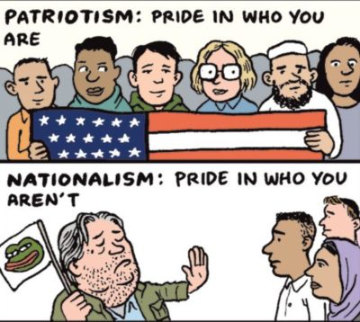 Patriotism vs the alt-right.