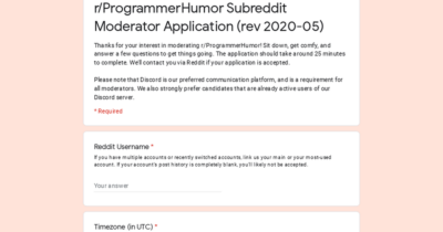 Gadzooks! r/ProgrammerHumor is looking for moderators (mod application thread)