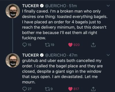 Man just wanted his bagels