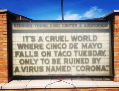 Funny because it's ironic and Sad because corona time will never be the same again. 😭