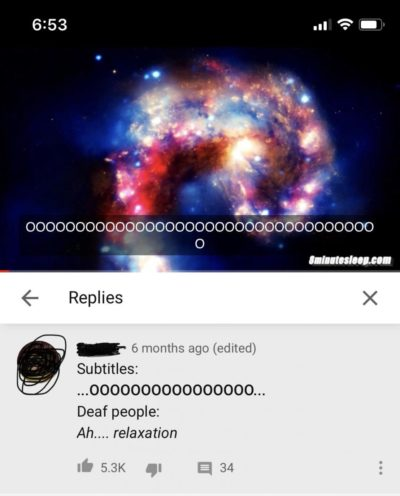This white noise video has subtitles