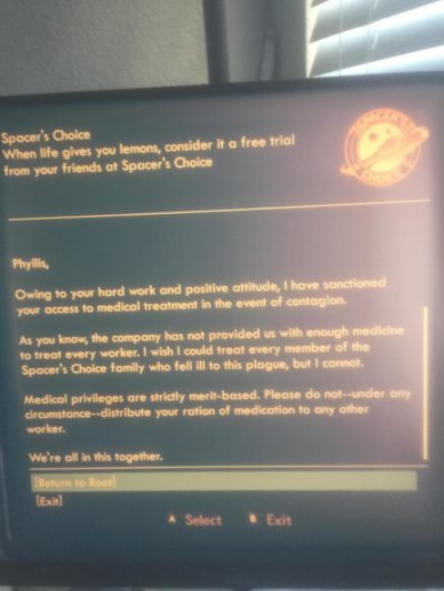 So I was playing Outer Worlds(2019) today and I laughed out loud at this scripted correspondence. Sorry my camera is a bit smashed. Remember, we're in this together. Chin up 2020!