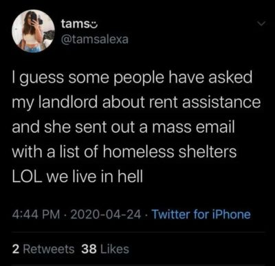 Ayyy but no rent tho