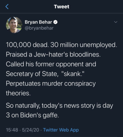 Forget Trump destroying the US… today's lead story: Biden's gaffe!