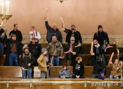 Armed militia at the Michigan Capitol Building yesterday