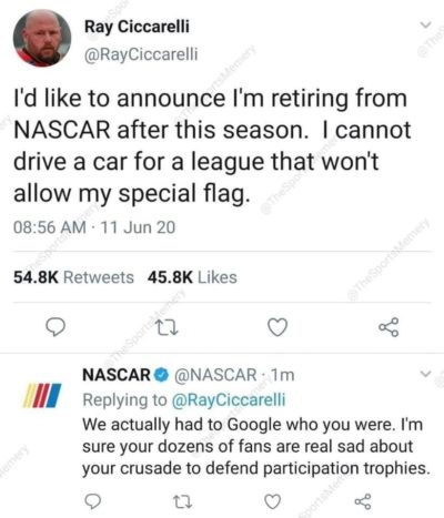 NASCAR with the third degree burn