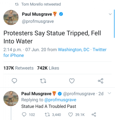 Protestors say statue tripped and fell into water