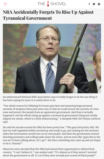 NRA apologies for not rising up against the tyrannical government. The thing it's been crying about for decades
