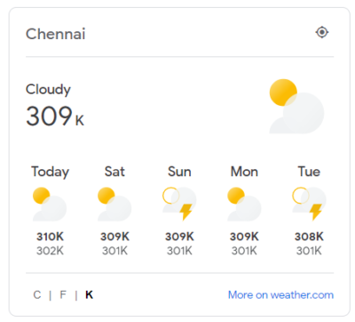TIL weather.com has a Kelvin option