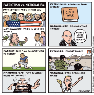 Patriotism Vs. Nationalism, apparently we need the reminder.