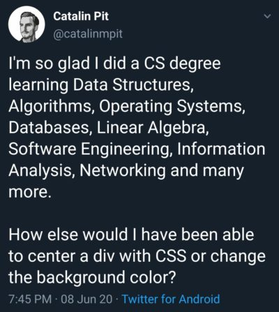 Front end developers after completing a CS degree