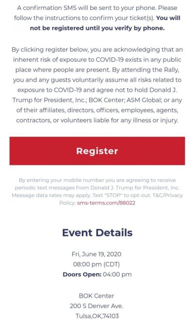 You need to acknowledge the threat of the virus to attend a trump rally. Poor illiterates gonna die