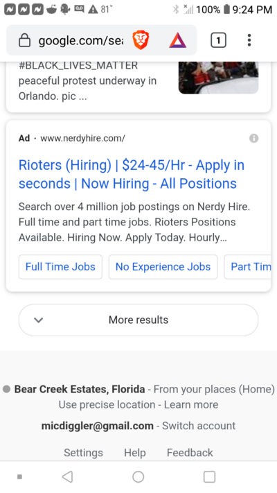 I googled riots in orlando because I have to go there for work tomorrow and this ad for a job search site came up