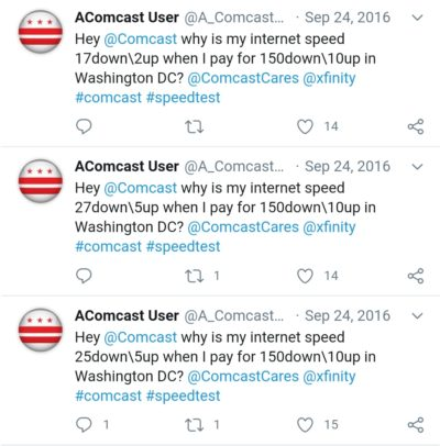 This Comcast user who set up a bot to tweet Comcast whenever his internet speed is lower than what he has paid for.