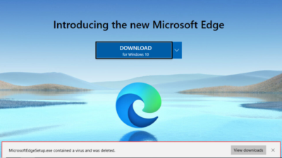 When Microsoft Edge says the Microsoft Edge installer has a virus